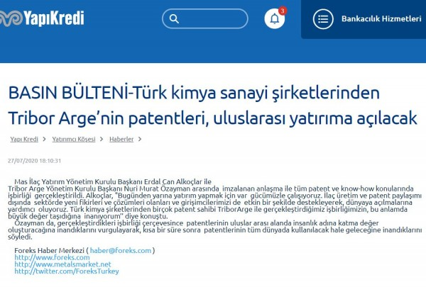 PRESS RELEASE-Patents of Tribor Arge, one of the Turkish chemical industry companies, will be opened to international investment